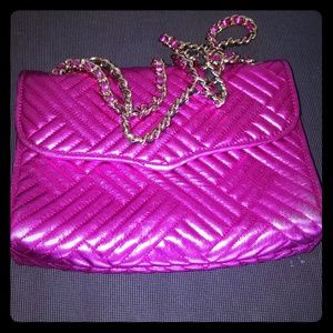Rebecca Minkoff pink metallic leather quilted bag